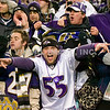 20 January 2013. Ravens fans in Foxboro postgame.   The Baltimore Ravens defeated the New England Patriots 28 to 13 in the AFC Championship Game in Gillette Stadium in Foxboro, Massachusetts. <br /> (c) Tom Croke/Visual Image Inc.
