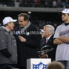 22 January 2012.  Patriot Postgame Ceremonies:  From left:  Patriot Head Coach Bill Belichick, CBS' Jim Nantz, Owner Robert Kraft and Quarterback Tom Brady.  The New England Patriots defeated the Baltimore Ravens 23 to 20 in the AFC Championship game.  The game was played in Gillette Stadium, Foxboro, Massachusetts. <br /> (c) Tom Croke/Visual Image Inc.