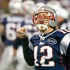 22 January 2012.  An emotional Patriot Quarterback Tom Brady (12) following his fourth quarter touchdown.  The New England Patriots defeated the Baltimore Ravens 23 to 20 in the AFC Championship game.  The game was played in Gillette Stadium, Foxboro, Massachusetts. <br /> (c) Tom Croke/Visual Image Inc.