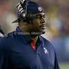21 October 2012. Patriots Linebackers Coach Pepper Johnson on the sidelines in the third quarter.  The New England Patriots defeated the New York Jets 29 to 26 in overtime at Gillette Stadium, Foxboro, Mass. <br /> (c) Tom Croke/Visual Image, Inc.