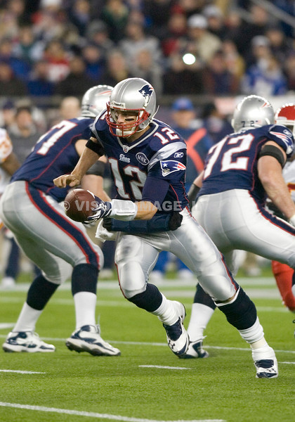 21 November 2011.  Patriot Quarterback Tom Brady (12) prepares to handoff in the second quarter.  The New England Patriots defeated the Kansas City Chiefs 34 to 3 in Gillette Stadium, Foxboro, Massachusetts in NFL Week 11. <br /> (c) Tom Croke/Visual Image, Inc.