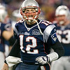22 January 2012.   Patriot Quarterback Tom Brady (12) celebrates his fourth quarter touchdown which put the Patriots ahead for the remainder of the game. The New England Patriots defeated the Baltimore Ravens 23 to 20 in the AFC Championship game.  The game was played in Gillette Stadium, Foxboro, Massachusetts.<br />  (c) Tom Croke/Visual Image, Inc.
