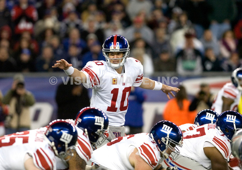 6 November 2011.  Giants Quarterback Eli Manning (10) calling play changes in the third quarter. The New York Giants beat the New England Patriots 24 to 20 in Gillette Stadium in Foxboro on a Sunday afternoon game. <br /> (c) Tom Croke/Visual Image Inc.