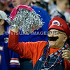 21 October 2012.  A Patriot Fan cheering on his team in the third quarter.   The New England Patriots defeated the New York Jets 29 to 26 in overtime at Gillette Stadium, Foxboro, Mass. <br /> (c) Tom Croke/Visual Image, Inc.
