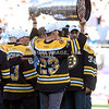 09 October 2011. Members of the 2011 Stanley Cup Champion Boston Bruins show off the Stanley Cup during pregame ceremonies.  The New England Patriots defeated the New York Jets 30 to 21 in Gillette Stadium, Foxboro, Massachusetts in a 4:15 Sunday afternoon Game.  (c) Tom Croke/Visual Image Inc