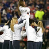 22 January 2012.  New England Patriot Cheerleaders perform at the two minute warning.  The New England Patriots defeated the Baltimore Ravens 23 to 20 in the AFC Championship game.  The game was played in Gillette Stadium, Foxboro, Massachusetts. <br /> (c) Tom Croke/Visual Image Inc.