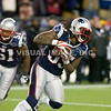 22 January 2012.  Patriot Linebacker Brandon Spikes (55) with his fourth quarter interception of a Joe Flacco pass.  The New England Patriots defeated the Baltimore Ravens 23 to 20 in the AFC Championship game.  The game was played in Gillette Stadium, Foxboro, Massachusetts. <br /> (c) Tom Croke/Visual Image Inc.