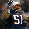 22 January 2012.  Patriot Linebacker Jerod Mayo (51) heads off the field following the Patriot win.  The New England Patriots defeated the Baltimore Ravens 23 to 20 in the AFC Championship game.  The game was played in Gillette Stadium, Foxboro, Massachusetts. <br /> (c) Tom Croke/Visual Image Inc.
