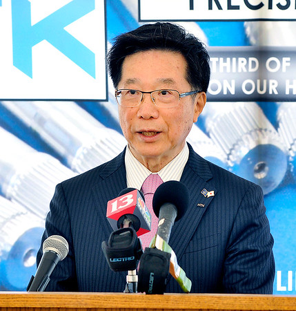 John P. Cleary |  The Herald Bulletin<br /> Hironori Inoue, executive vice president of NTN, speaks at the NTK Precision Axle groundbreaking ceremony.