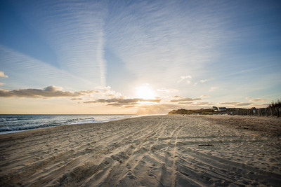 Ditch Plains in Montauk; NY  The beach in Montauk with a long term surfer hangout  looking west at sunset. (c) Jennifer Heffner Photography
