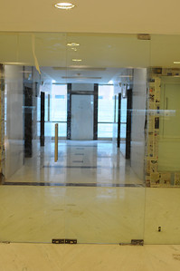 Looking east to elevator lobby from reception