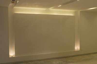 Feature wall in reception.