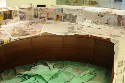 Backside view of reception desk.