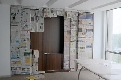 AV Storage cabinet in boardroom.