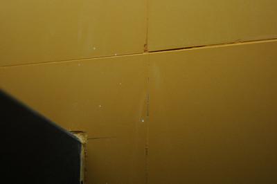 Sloppy installation of vitrified tile in bathroom.
