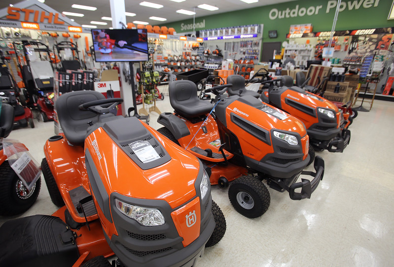 Husqvarna tractors, for $2,000, $2,200 and $2,300, at O'Connor True Value Hardware in Billerica Center, some of the big items that are popular purchases during sales tax holidays. (SUN/Julia Malakie)