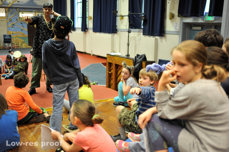 """Oregon Humanities Magazine - Jana and Mic Crenshaw work with 3rd graders at Sunnyside Environmental School rehearsing a play about the Portland history and themes of race equality Wednesday 5/17/17. © 2017 Fred Joe /  <a href=""""http://www.fredjoephoto.com"""">http://www.fredjoephoto.com</a>"""