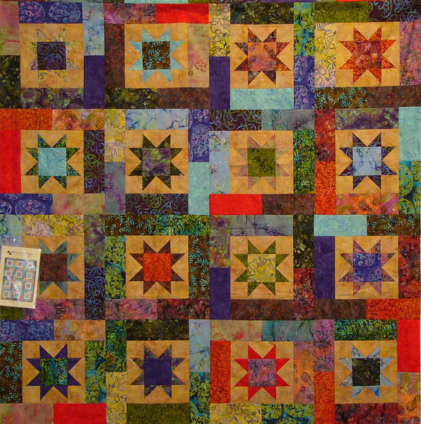 Not your ordinary Lucky star. Quilt pieced by Alison Green<br /> Class, pattern available at the shop