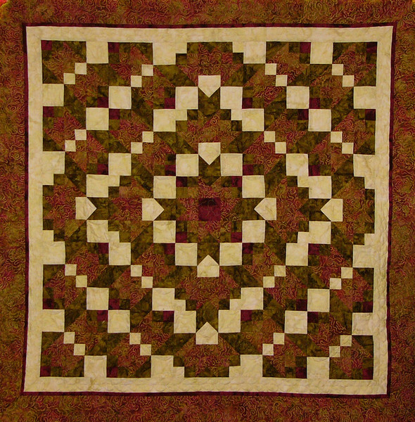 Fractured Crystals by Corinne Schroeder<br /> Class taught by Ruth Biehl<br /> Class,Kit and pattern available<br /> This was our 1st retreat mystery pattern