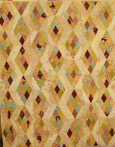 """Strip & Dip by Ruth Biehl<br /> <br /> Pattern,and class available<br /> <br /> This class is perfect for those jelly rolls or your favorite fabric cut into 2 1/2"""" strips. It all goes together in a jiffy and even quicker using Marti Mitchell's Stripper templates."""