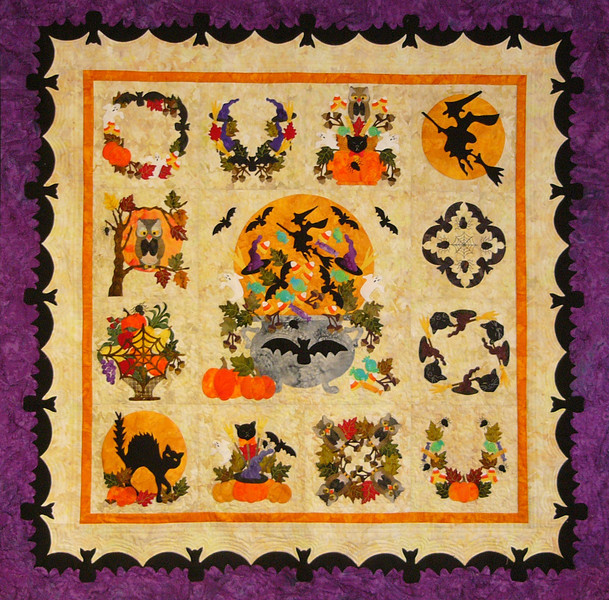 Baltimore Halloween, except we are making ours faster using a fusing technique.<br /> It's Halloween all year long here.<br /> Quilt pieced and quilted by Corinne Schroeder.<br /> workshop scheduled, pattern and fabrics available