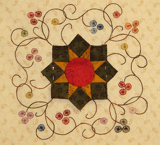 Mountain Blossom- Our hand piecing project by Cindy Blackberg