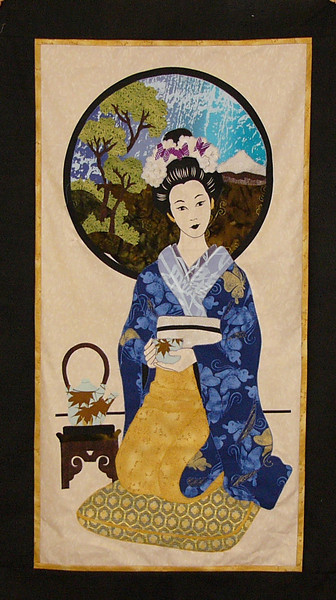 Geisha Panel<br /> Fused applique by Corinne Schroeder<br /> kit available<br /> Demo scheduled for Sat Feb 28th at 9am.
