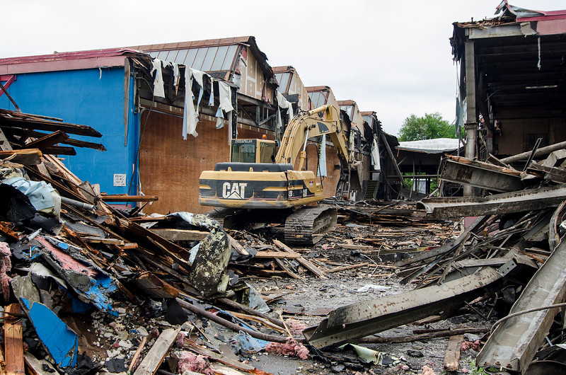 Demolition has begun at Pelletier's Building Supply Co. building on Water Street. The Dollar General, currently located in the Water Street Market Basket plaza, will move across the street. SENTINEL & ENTERPRISE / Ashley Green