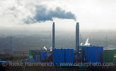 Industrial Plant with smoking Chimneys - Recklinghausen, North Rhine-Westphalia, Germany