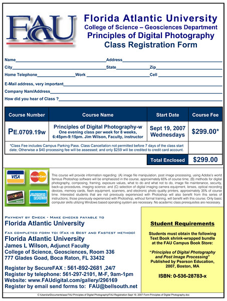 FAU Registration Sept 19, 2007 Form Principles of Digital Photography