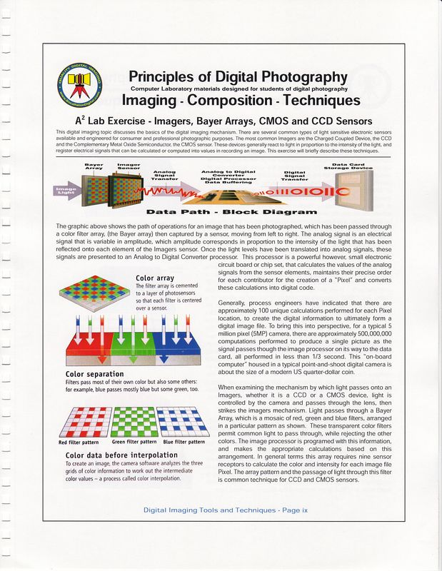 James Wilson for FAU Professional Training Programs in Digital Imaging 416-1100 mentioned in several Press Releases by FAU Office of President, Frank T Brogan. Book cover and Table of Centents for digital imaging class offered at FAU - Principles of Digital Photography.