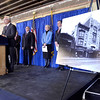 Developer Joseph Nicolla President of Columbia Development, Troy Mayor Lou Rosamilia, Linda Hillman President of the Rensselaer County Chamber, Daniel Stone Chamber Board Chair, speaks at announcement that The Rensselaer County Regional Chamber of Commerce will move to the Historic Proctor's Theater Building on 4th Street in Troy,  Thursday February 27, 2014. (Mike McMahon / The Record)