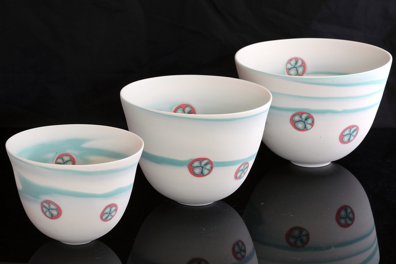 Wave Bowls, Small, Medium, Large. Margaret Brown Ceramics.