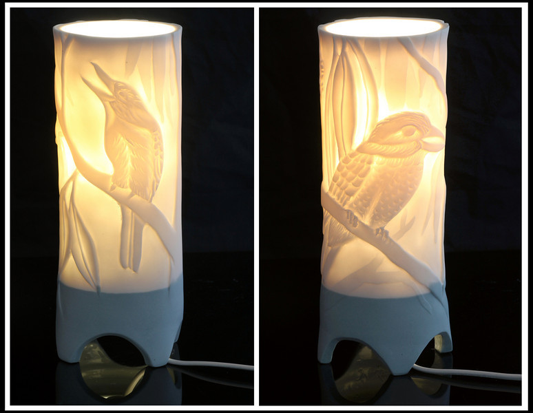 Kookaburra Lamp, front and back view. Margaret Brown Ceramics.