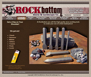 Rockbottomstone.com. Website design, coding, and photography by Jeff Green, (c)2008 capturedpix.com. View the live Rockbottom Stone & Landscaping Website