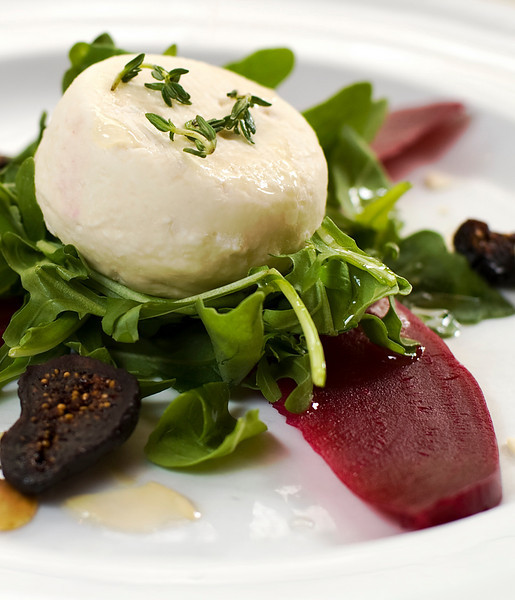 warm Goat Cheese Salad, red beet dressing