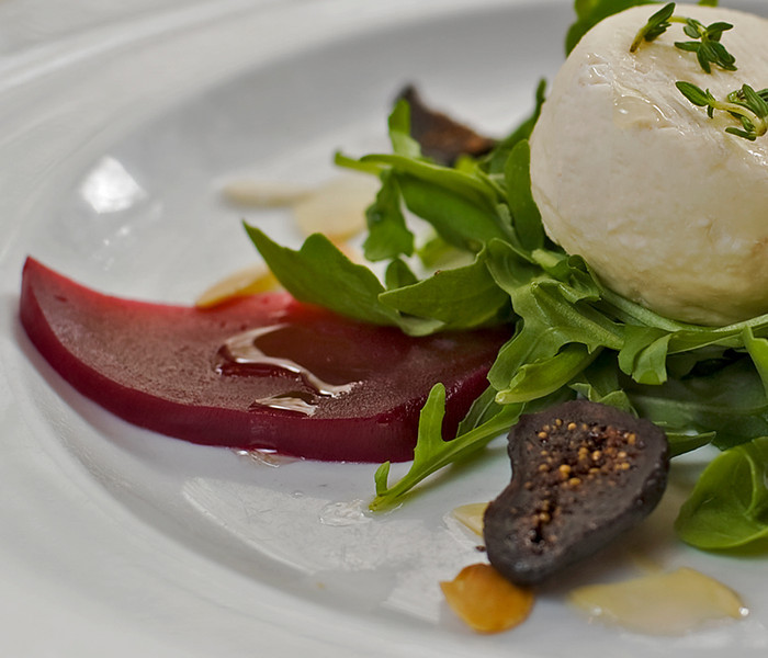 warm Goat Cheese Salad, red beet dressing c