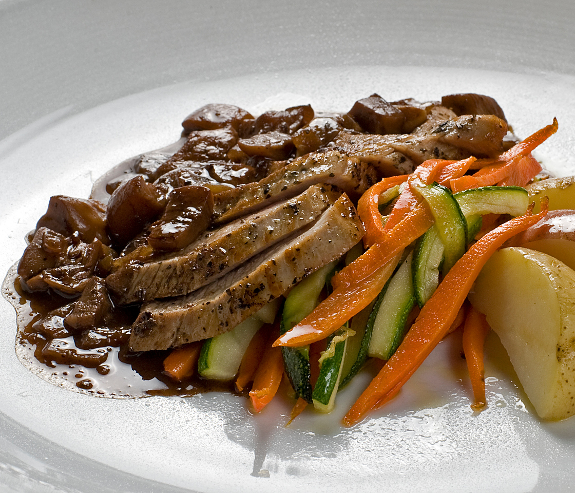 Roasted loin of veal with a balsamic & porcini mushroom  demi-glace