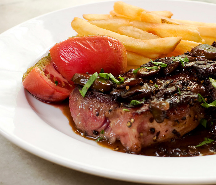 Steak Frites with Wild Mushroom Sauce a