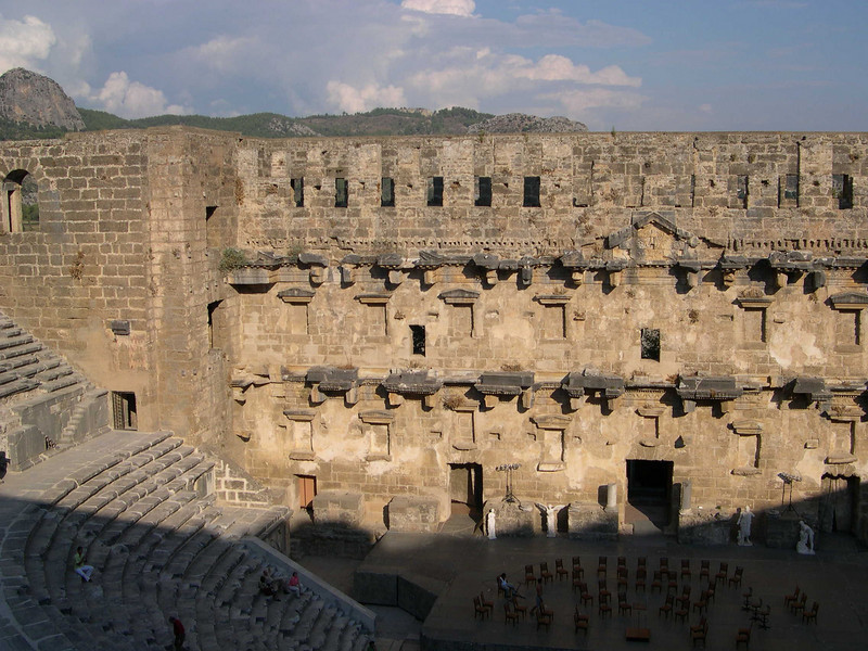 Roman theater at Aspendos.  The stage is set for a concert, that we attended.