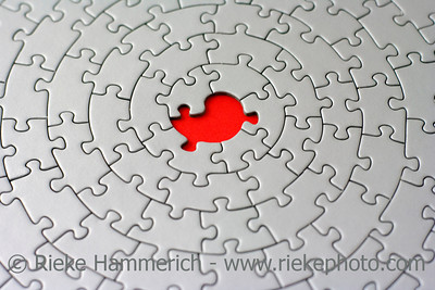 grey jigsaw with one missing piece - pieces fitting together in form of a spiral - adobe RGB
