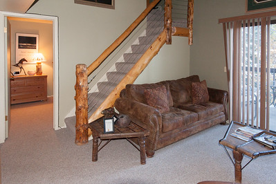 Sleeper sofa in living room.  Ship door tables.