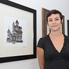 """SENTINEL&ENTERPRISE/Ashley Green -- Artist Sophy Tuttle displayed her artwork """"The House of Usher"""" during the Revival Gallery's one year anniversary show on Friday evening. Revival Gallery is located at 713 Main Street in Fitchburg."""