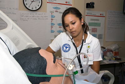 Sacramento City College Extended Campus nursing student Rebecca Peirce participates in a CVA simulation exercise in the SCC/EX sim lab.