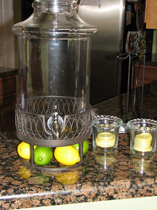 My Savannah Beverage server.  Kind of cool to put the limes and lemons under it.  I sliced some up too for the water.
