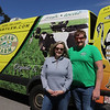 Lyndie Shaw and her brother Mark Shaw, both of Dracut, with one of the Shaw Farm delivery trucks. Deliveries are more in demand due to the Covid-19 pandemic. (SUN/Julia Malakie)