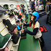 KRISTOPHER RADDER — BRATTLEBORO REFORMER<br /> Linnea Congleton, of Brattleboro, looks at snowboard boots at Burrows Specialized Sports on Thursday, Nov, 15, 2018.