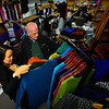 KRISTOPHER RADDER — BRATTLEBORO REFORMER<br /> Kim Murray, co-owner of Malisun, shows United States Congressman Peter Welch (D-Vt) some of the clothing that is sold in her shop during a visit as the congressman tries to promote shopping locally on Monday, Nov. 19, 2018.