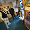 KRISTOPHER RADDER — BRATTLEBORO REFORMER<br /> Greg Worden, the owner of Vermont Artisan Designs, shows United States Congressman Peter Welch (D-Vt) some of the art that is sold at his store during a visit as the congressman tries to promote shopping locally on Monday, Nov. 19, 2018.