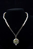 """Fresh Water Pearls and Dichroic Glass Pendant, 16"""" Chain."""